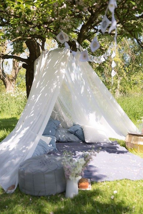 denim pillows for a wedding teepee