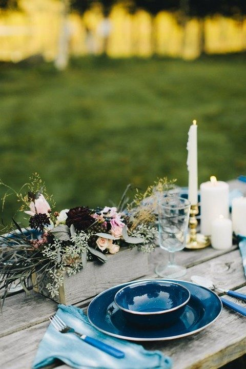 dyed napkins and bautiful indigo plates and platters