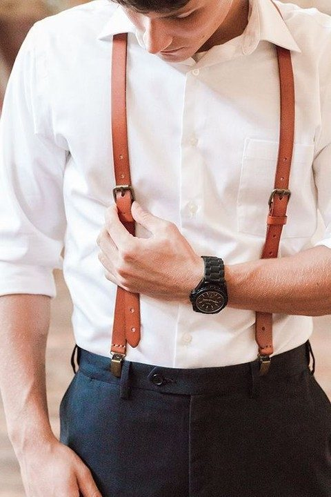 genuine leather suspenders for a vintage groom look