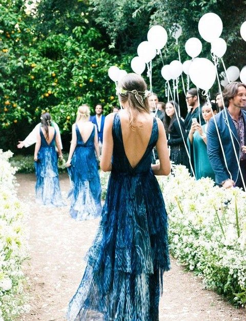gorgeous indigo bridesmaids' dresses with ruffles and open backs