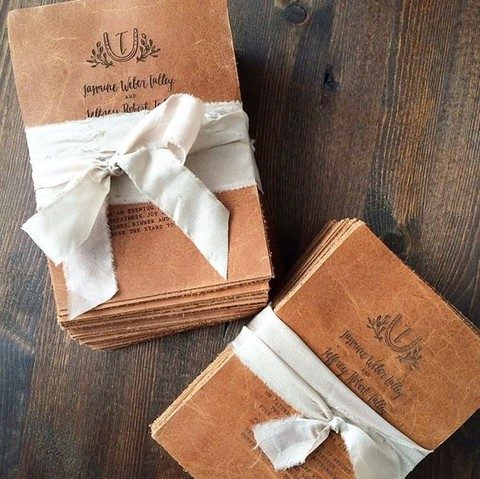 gorgeous leather invitations