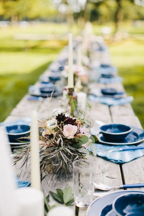 indigo plates, platters and napkins for a rustic tablescape