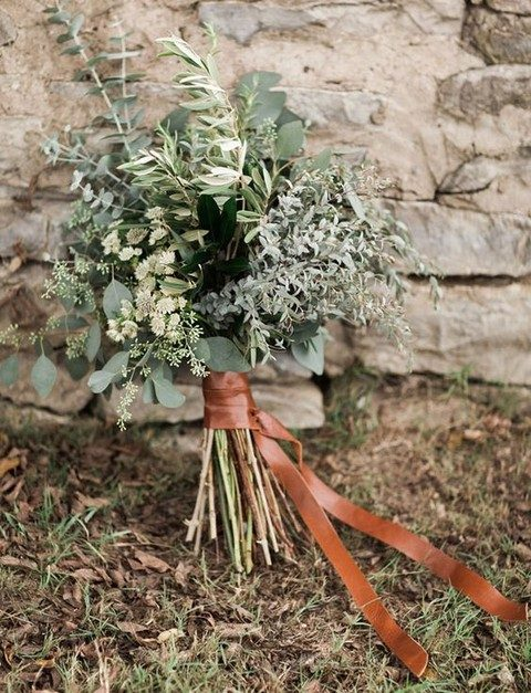 leather belt for wrapping a greenery wedding bouquet