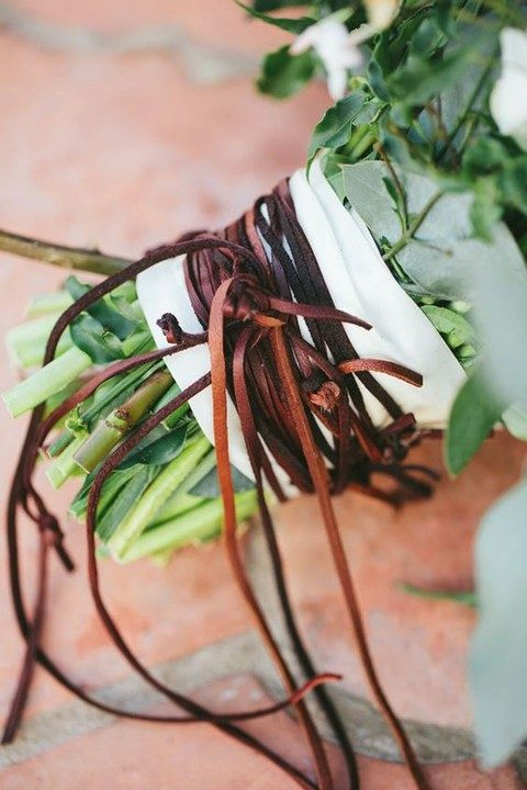 leather cord bouquet wrap to give it a rustic look