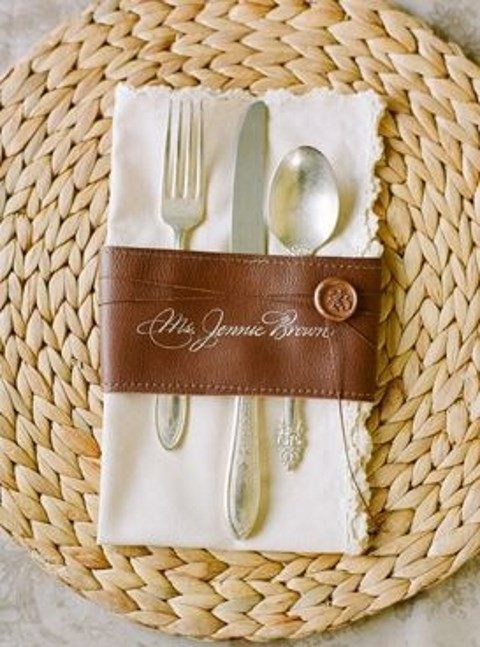 leather cutlery and napkin ring with a seal
