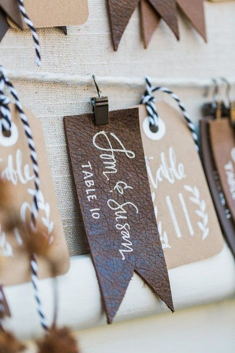 leather escort cards with hand lettering