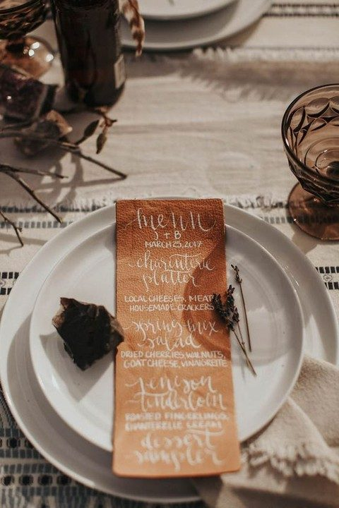 leather menus for each place setting