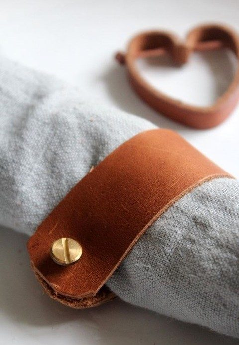 leather napkin rings with gold details