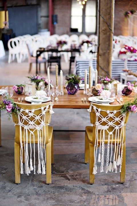 macrame chair hangers with bold blooms