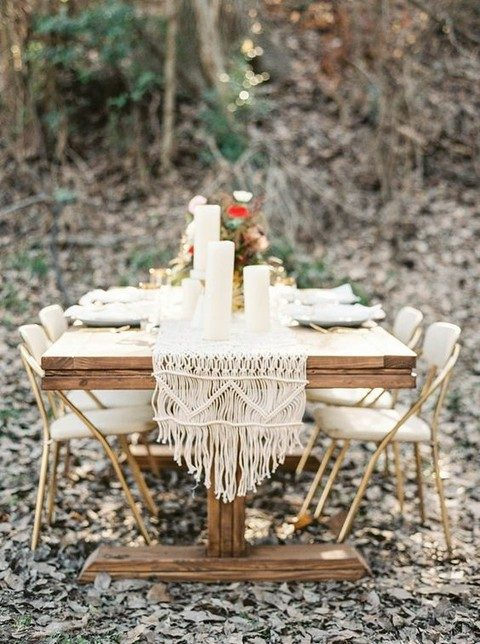 macrame table runner for a boho wedding
