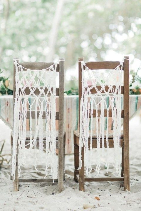 macrame wedding chair decor is simple and can be made by you