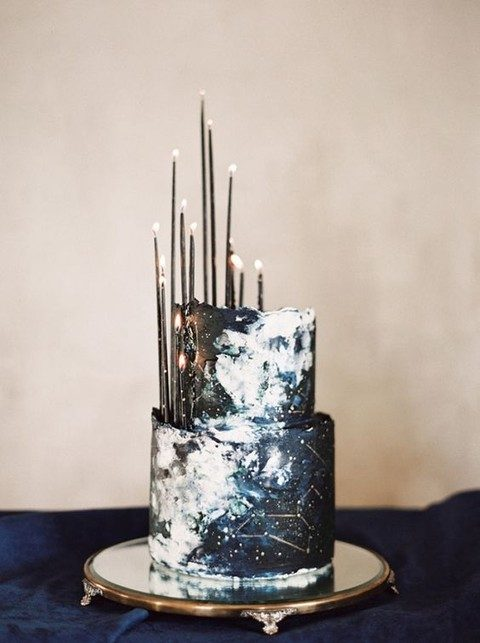 modern constellation wedding cake with black candles
