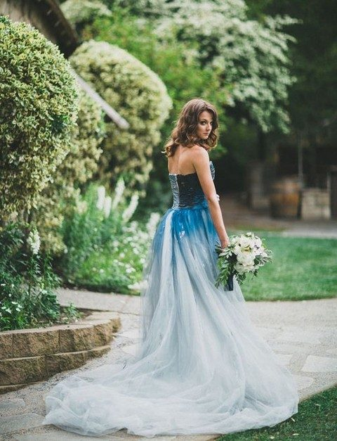 ombre indigo dyed wedding gown for a daring bride