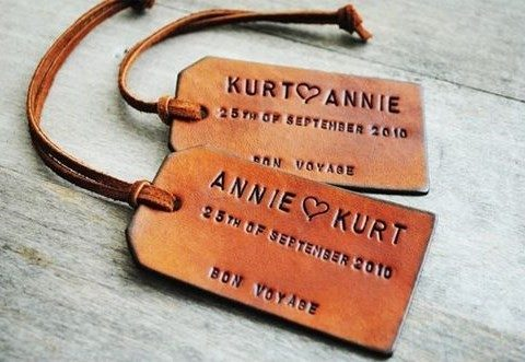 personalized leather luggage tags for wedding favors
