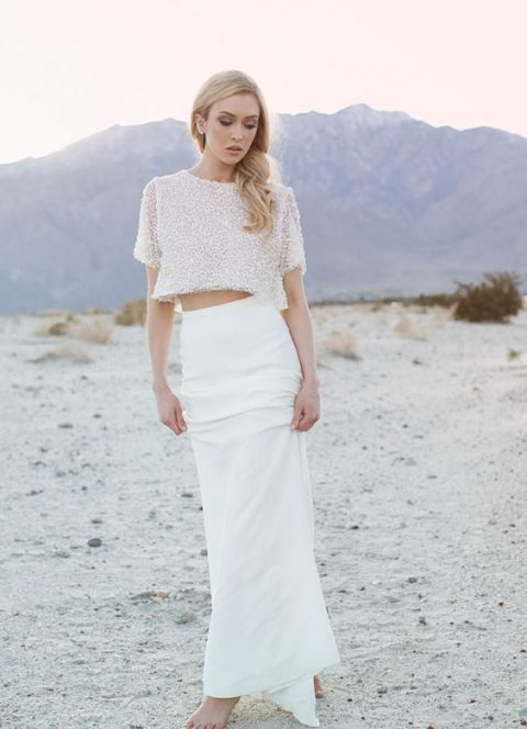 a fitting plain skirt and a sparkling short sleeve crop top