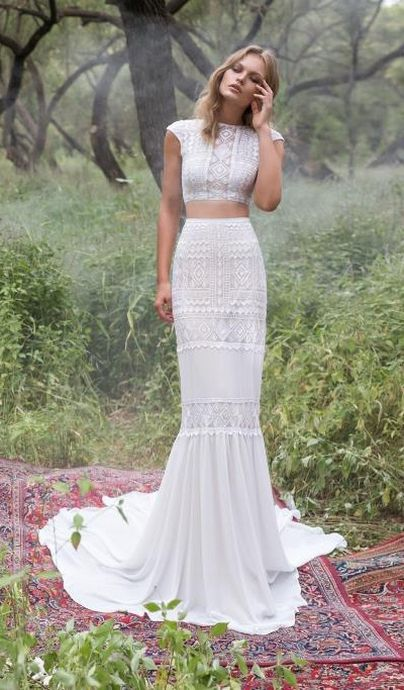 a boho lace two piece with cap sleeves and a mermaid skirt