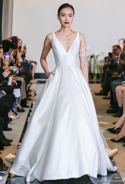 V-neck sleeveless strap wedding dress with pockets by Justin Alexander
