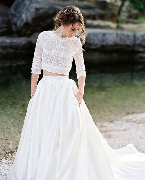 a bridal separate with a lace half sleeve top and a full plain skirt with pockets