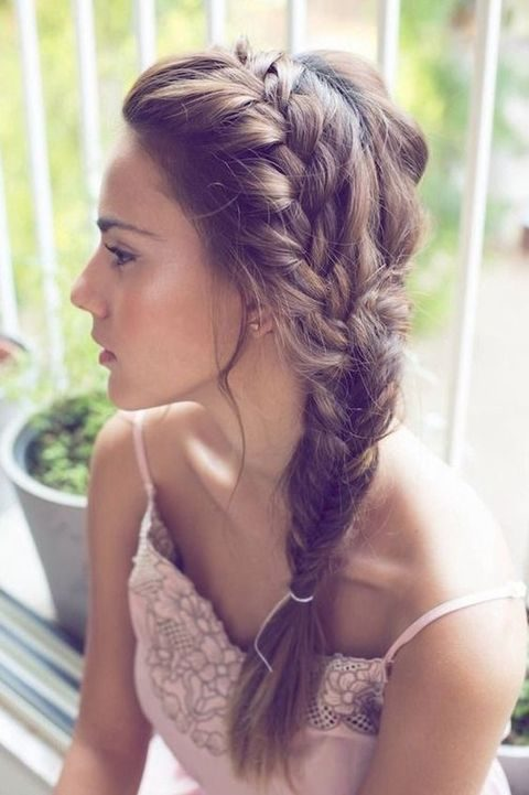 a side fishtail braid is a simple and cute idea