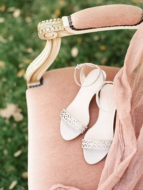 ankle strap wedding sandals with laser cut straps