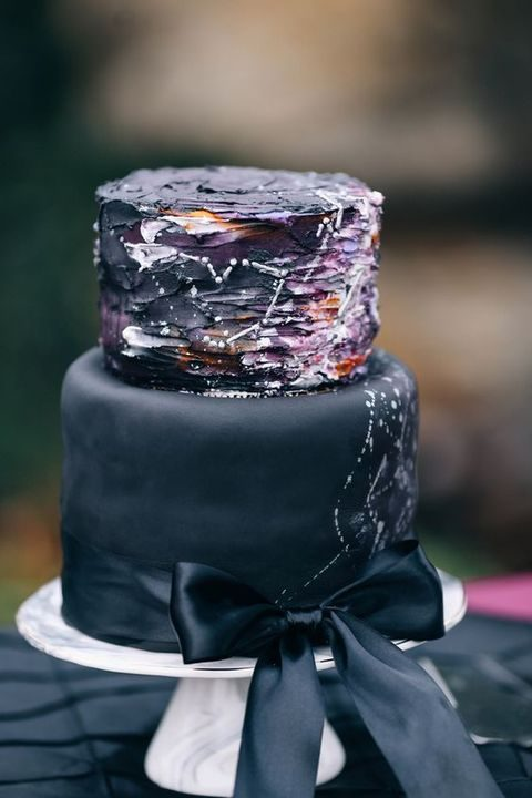 black and watercolor purple, orange and white constellation wedding cake