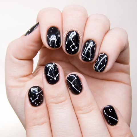 black and white wedding nails with constellations