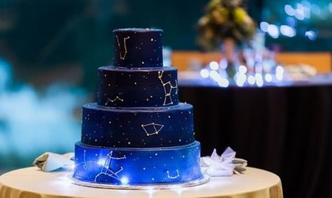 blue and navy constellation wedding cake