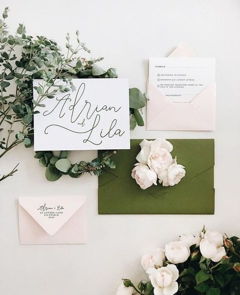 blush and wild olive wedding invites with black calligraphy