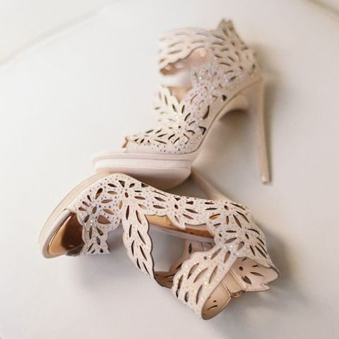 blush laser cut wedding shoes with beading