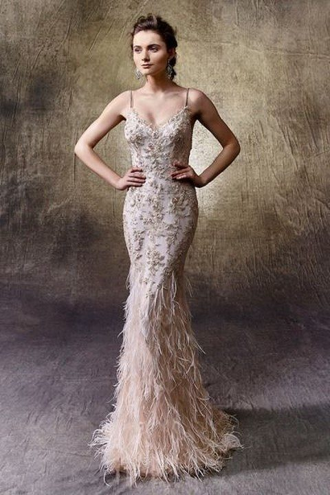 31 Feather Wedding Dresses That Wow | HappyWedd.com