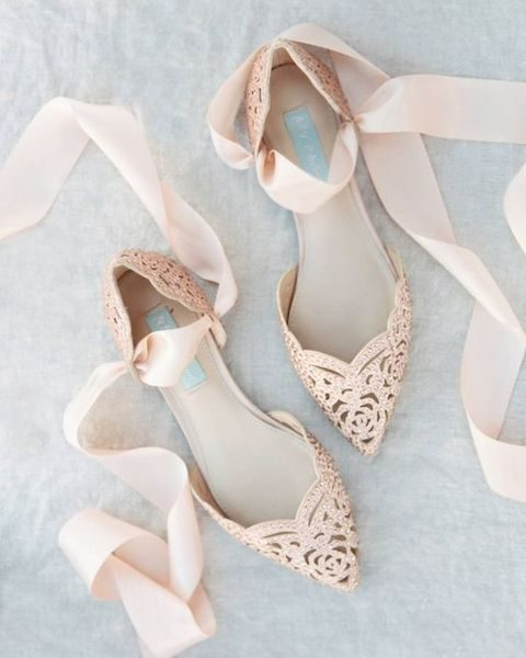 blush rose laser cut wedding flats with ribbons