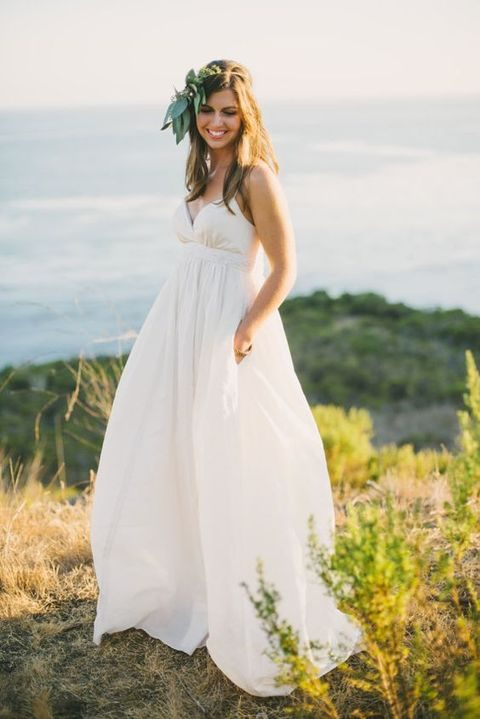boho V-neck spaghetti strap wedding dress with pockets