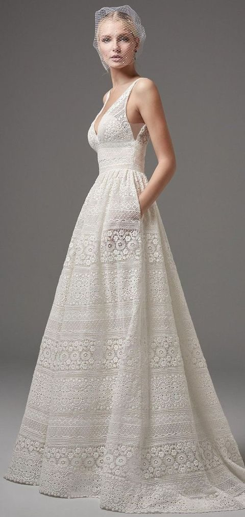boho lace V-neck sleeveless wedding dress with pockets by Maggie Sottero
