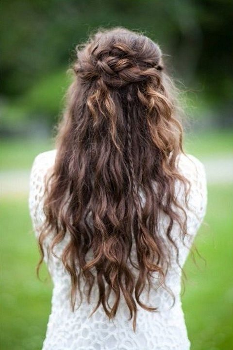 braided and wavy half updo for long hair