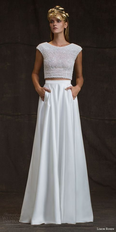 bridal separate with a pearl and bead crop top and a plain skirt with pockets