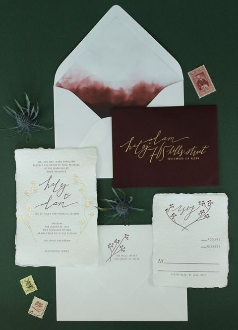 calligraphy and watercolor wedding invitations with burgundy touches