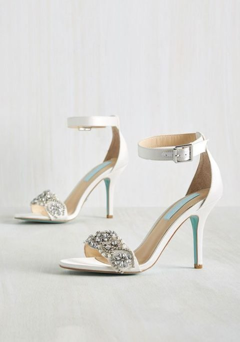 Chic Embellished Ankle Strap Wedding Shoes
