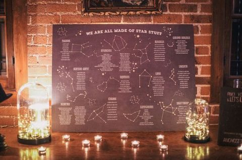 constellation wedding seating chart lit up with candles and LEDs