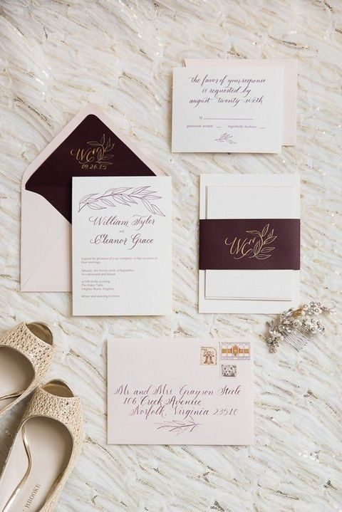 cream and burgundy wedding invitations with calligraphy