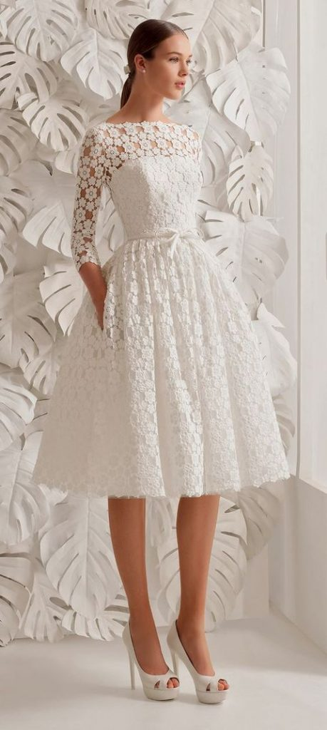 cute lace flower knee-length wedding dress with half sleeves, an illusion neckline and pockets