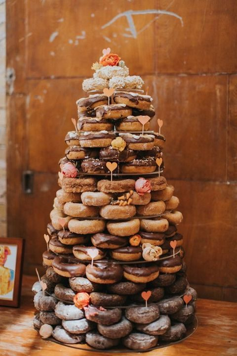 donut tower with chocolate topped and glazed donuts