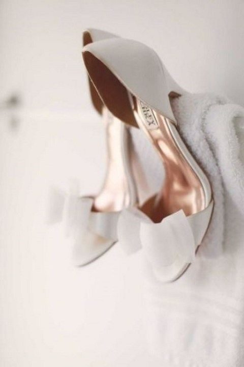 elegant white peep toe wedding shoes with bows