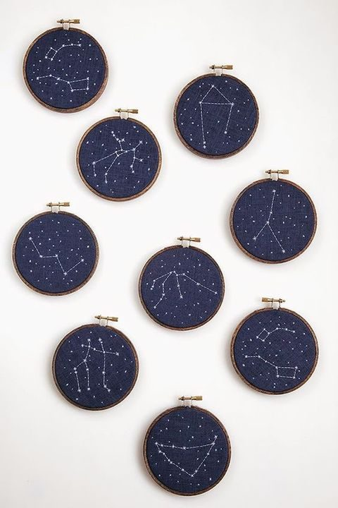 embroidered constellations for table decor or wedding favors