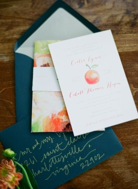 emerald envelopes and watercolor apple invites with calligraphy