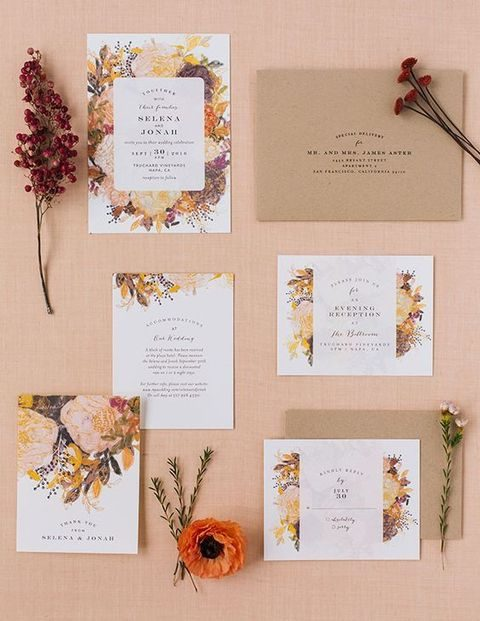 fall color flower and leaf printed invitations