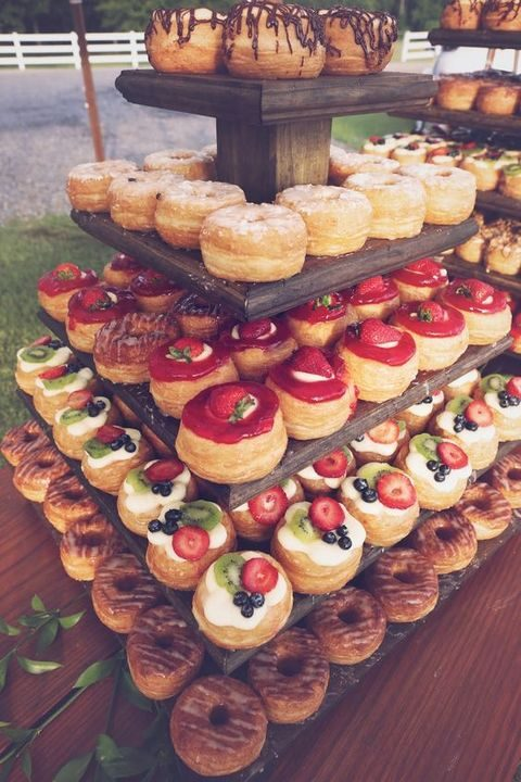 glazed and fruit topped wedding donuts instead of a wedding cake