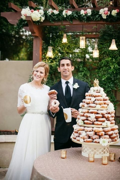 glazed donut wedding tower instead of a traditional cake