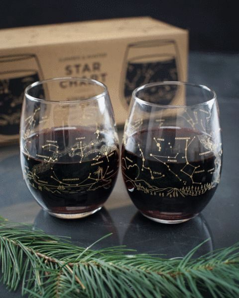 gold constellation wine glasses