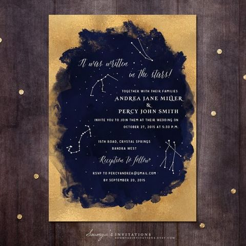 gold glitter and navy watercolor constellation wedding invitation