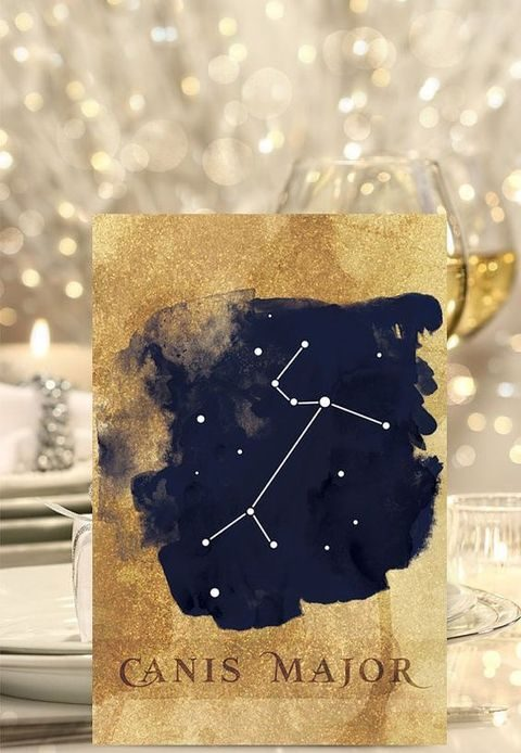 gold glitter and navy wedding table name